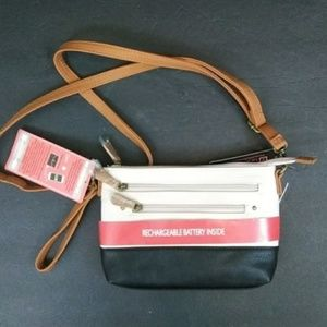 Convertible Leather Purse w/Cell Phone Charger NWT